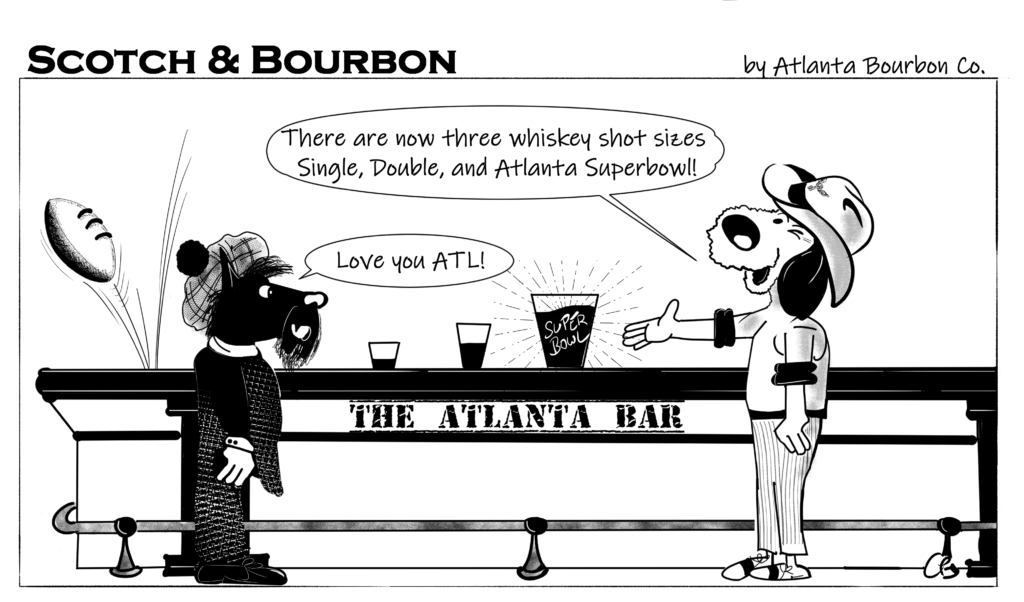 Scotch & Bourbon Cartoon #3 Atlanta Super Bowl Party 2019