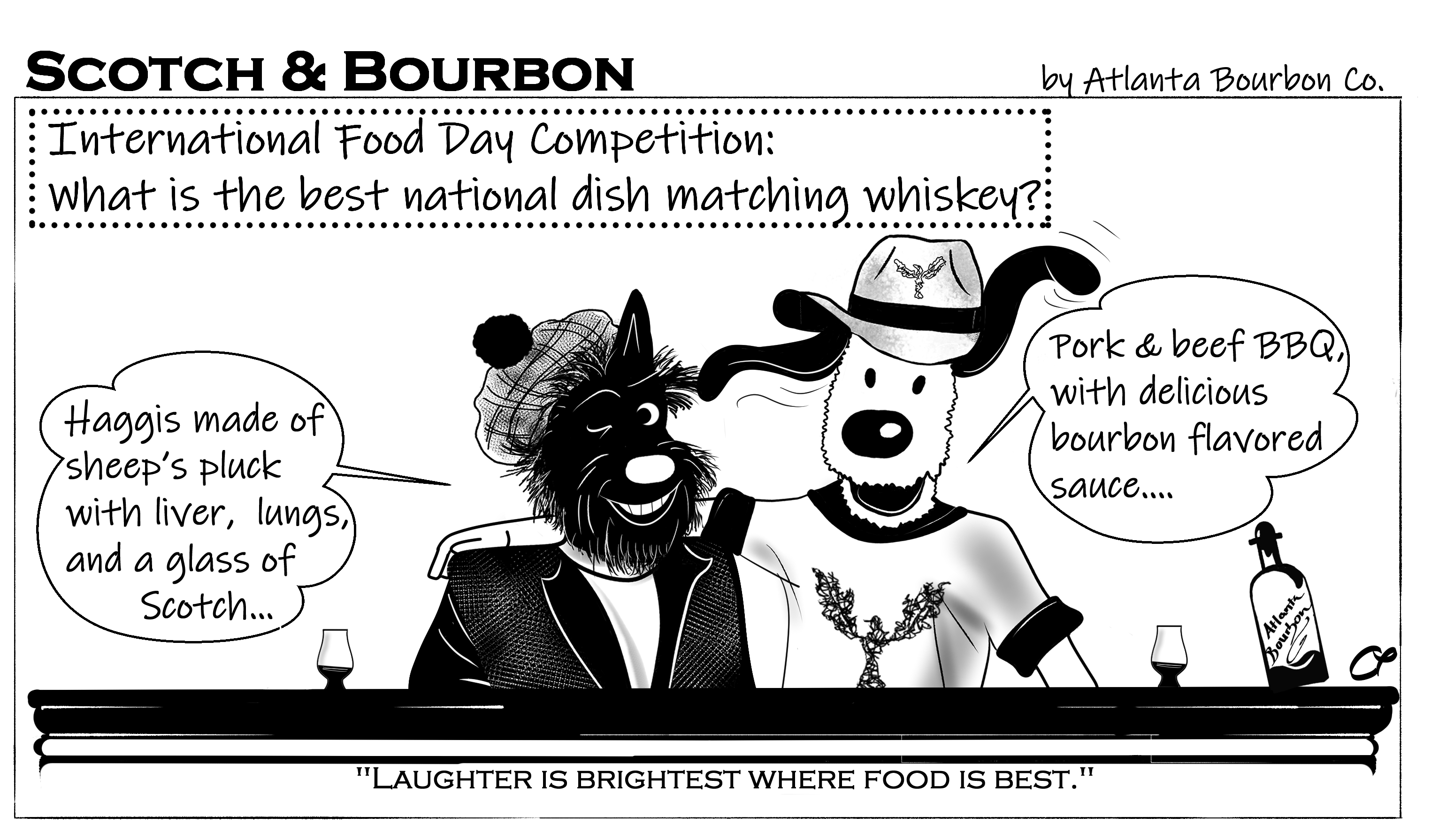 "Scotch & Bourbon Cartoon #15 ""International Food Day Competition"""
